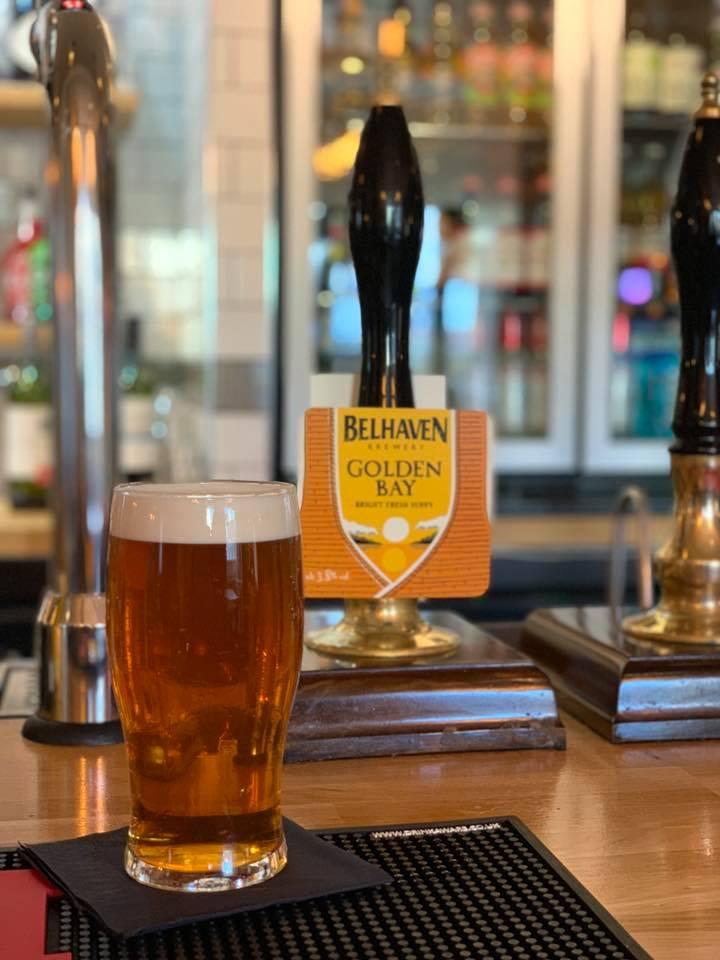 belhaven golden bay beer and tap at the strathaven bar in strathaven