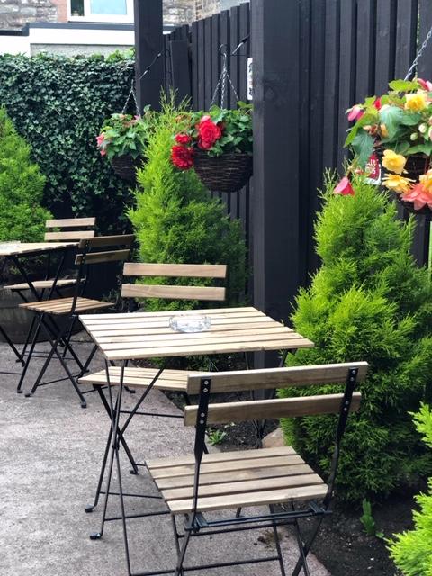 refurbished beer garden seating at the strathaven bar in strathaven